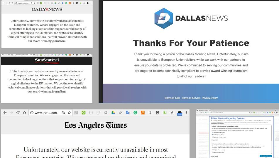 Honderden Nieuwswebsites Vs Blokkeren Verkeer Uit Europa